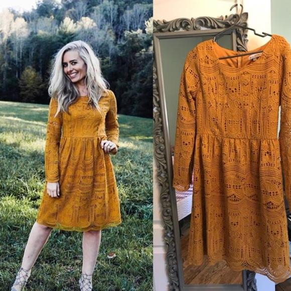 9fa5a26ba391 Ashley LeMieux Dresses | Nwt Mustard Lace Long Sleeve Dress | Poshmark